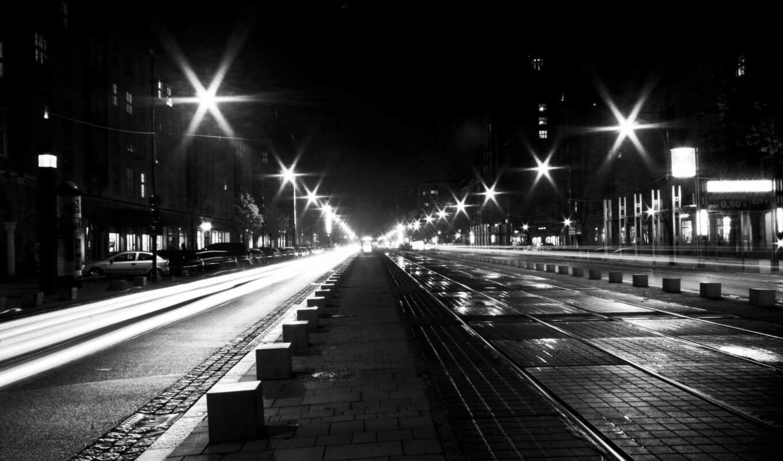 город, black, white, улица, ночь, car, ночное, огонь