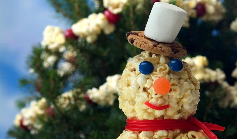 год, новый, снеговик, елка, снеговики, празд,