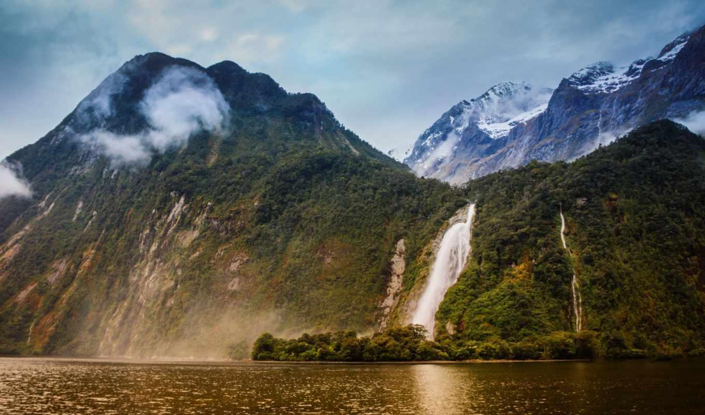 waterfall, southland, новая, full, зеландия, горы, download, windows, vannza, new, русский, пейзажи, view, природа,