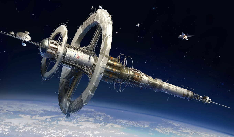 космос, art, корабль, станция, planet,