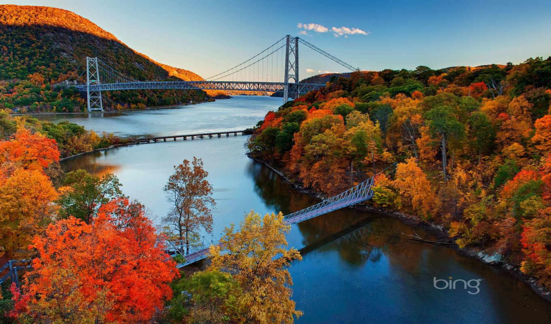 природа, горы, park, лес, new, hudson, мост, река, осень,