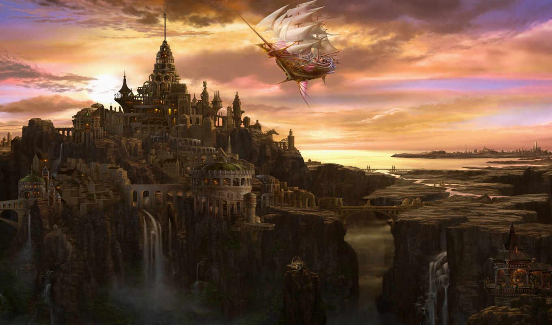 корабль, летучий, город, арт, облака, водопад, мост, паруса, башня, замок, uchio, картинка, ucchiey, kazamasa, this, фэнтези,