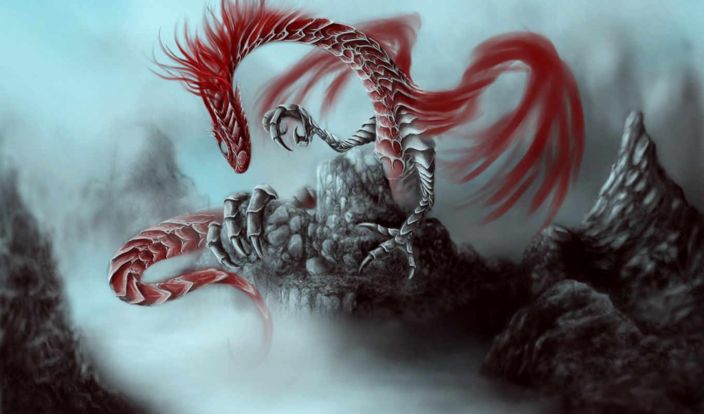 дракон, скалы, туман, картинка, картинку, мыши, кнопкой,