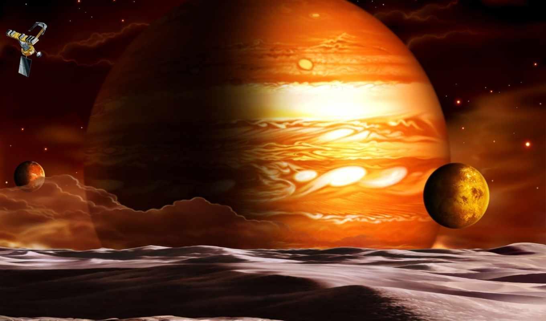 планета, спутники, корабль, облака, space, картинка, planets, горизонтали, вертикали, имеет, mixed,