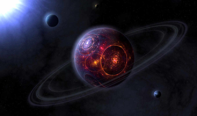 планета, огонь, фантастика, кольца, космос, collection, desktop, computer, soft, planets, mirage, distant,