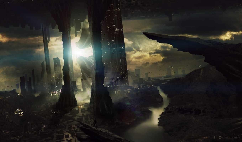 future, город, темнота, облака, человек, desktopography,