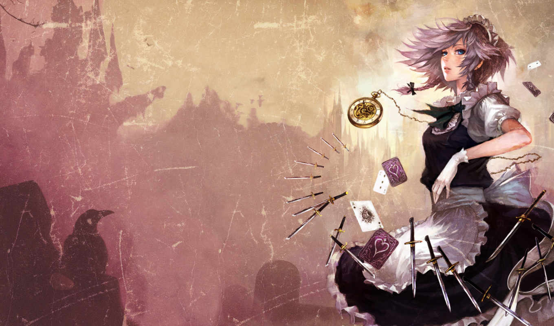 карты, девушка, izayoi, sakuya, аниме, медальон, нож, картинку, картинка, часы, touhou, ножи, мыши, кнопкой, eyes, blue, gloves,