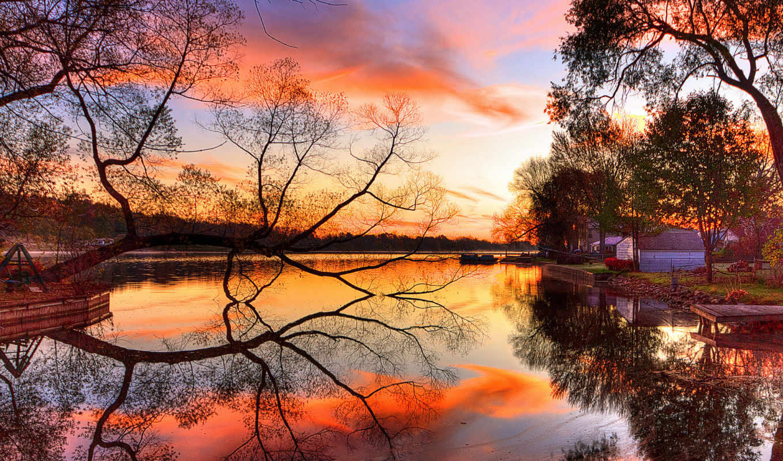 закат, берег, небо, река, дерево, отражение, природа, jootix, картинка, картинку, природы, уголками, водоём, осень, прекрасными,