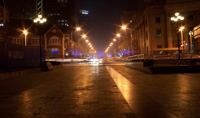 фонари, ночь, бульвар, огни, город, надписи, metro,