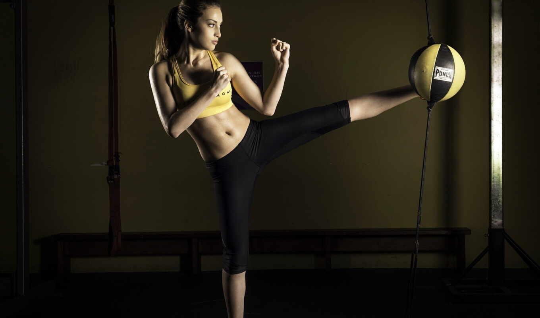 девушка, спортсменка, тренировке, спорт, зале, тренажерном, грушей, боксерской, devushki,