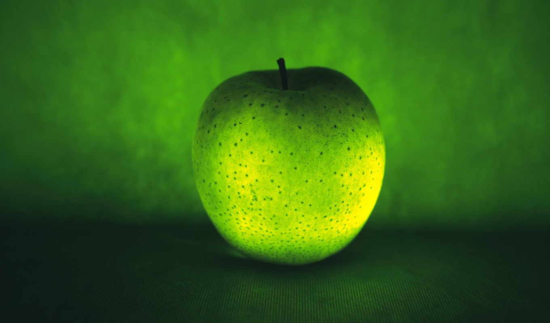 зеленое, apple, логотип, зелёный,