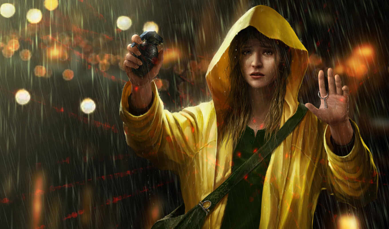 art, девушка, дождь, digital, красивые, террорист,