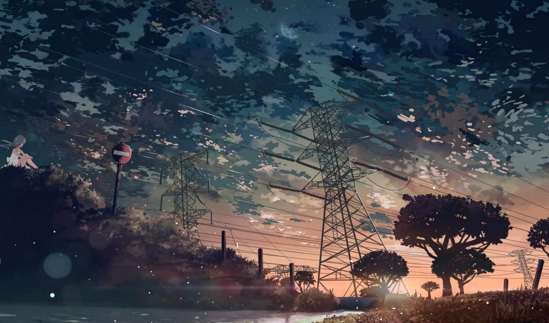 anime, oblaka, trees, природа, art, закат, море, небо,