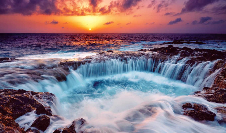 , море, закат, волны, брызги,