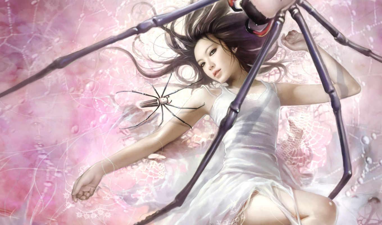 девушка, паутина, пауки, lin, chen, добыча, fantasy, паук, anime, чтобы, картинку, красавицы, thread, spiders,