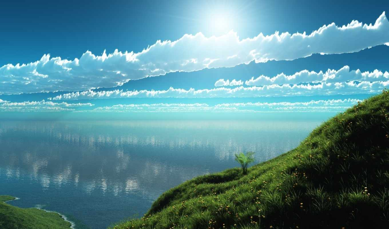 вода, трава, солнце, берег, облака, день,