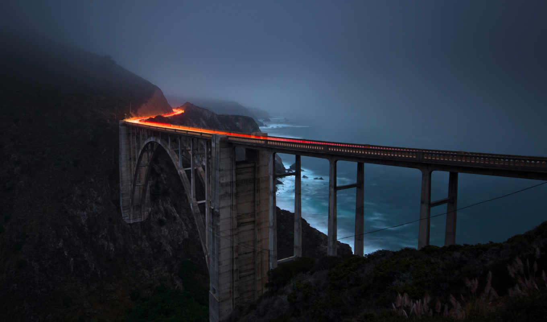 мост, свет, огни, дорога, выдержка, берег, мрак,