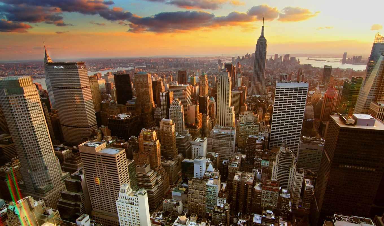 new, york, city, города, здания, облака, нью, закат,
