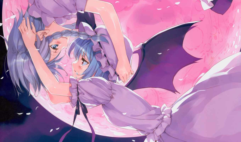 touhou, аниме, izayoi, sakuya, blush, girls, ueda, remilia, scarlet, yuri, similar, vampire, maid, ryou, moon,