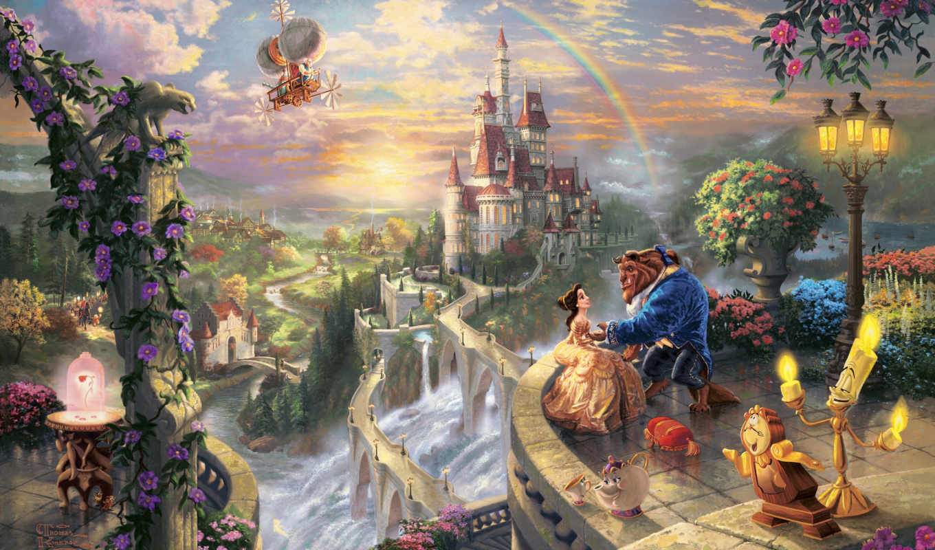 disney, thomas, kinkade, dreams, collection, beauty, часть, love, кинкейд, beast,