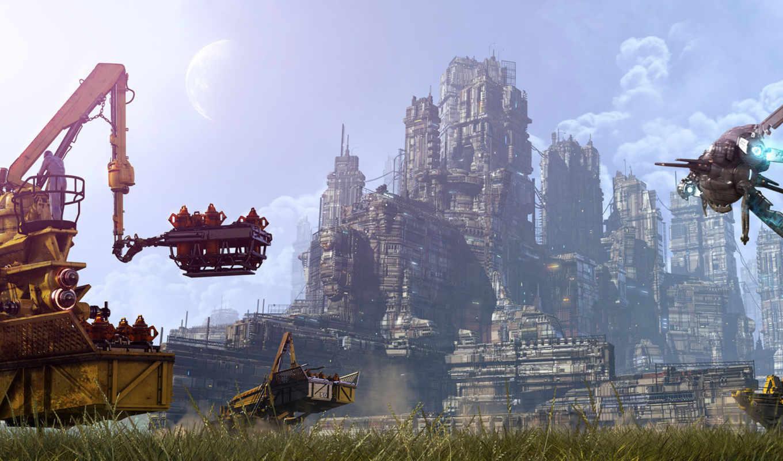 будущее, город, небо, нов, корабли, фэнтези, ángel, alonso, garcía, cleaning, будущего,