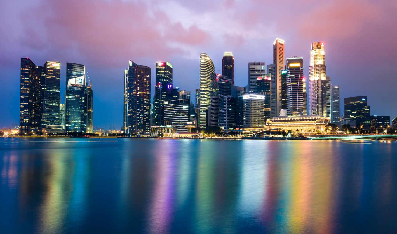 singapore, skyline, desktop, bay, марина, ultra, ночь,