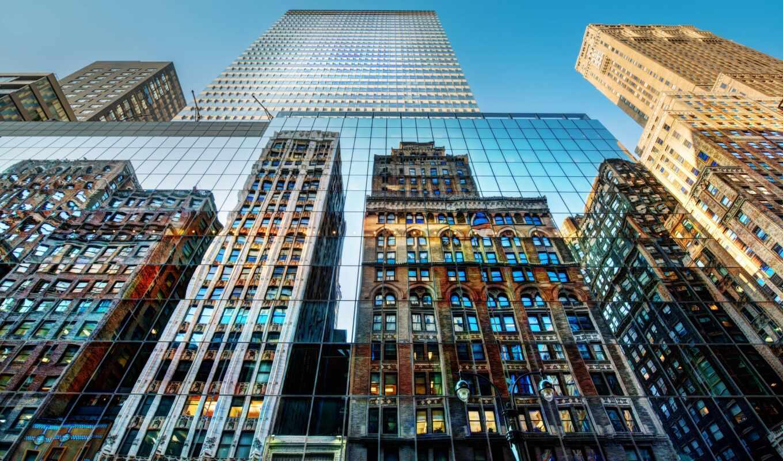 novostroika, город, york, небоскрёба, отражение
