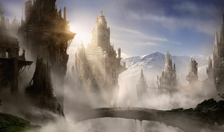 скалы, замок, горы, арт, город,