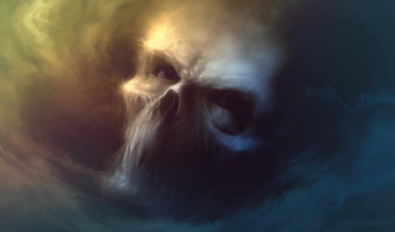 череп, дым, клыки, взгляд, черепа, нравится,
