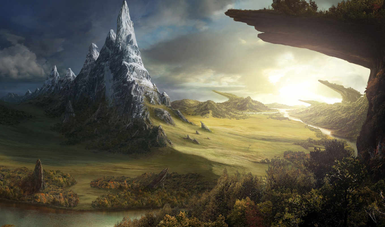 лес, фэнтези, река, поле, world, скалы, фантастика,