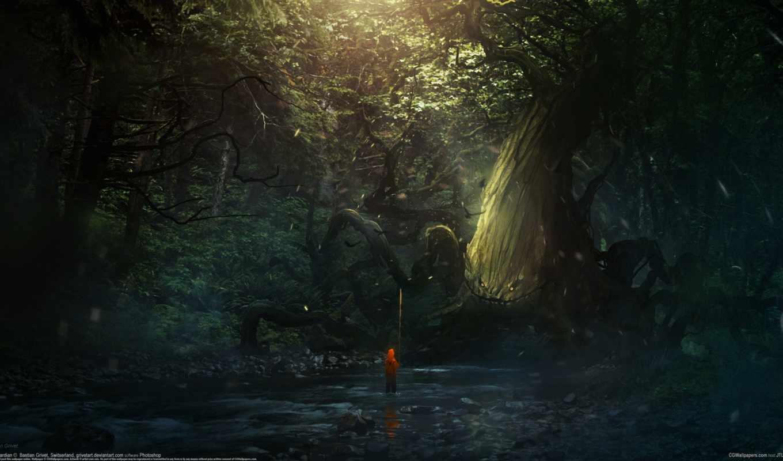 сказка, лес, арт, деревья, река,