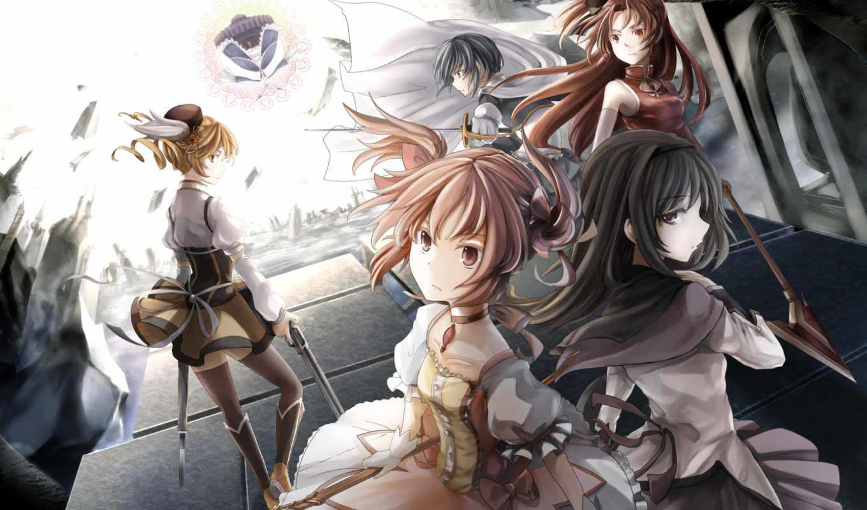 anime, девушки, оружие, версия, madoka, винтаж,