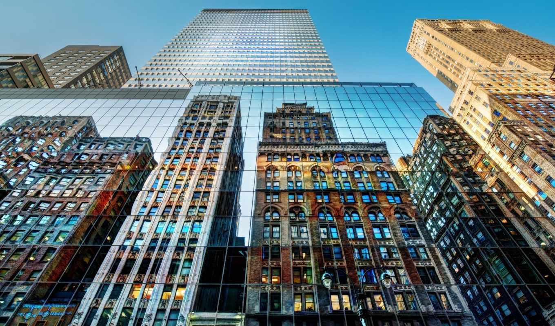 нью, york, небоскребы, широкоформатные, new, город, здания,