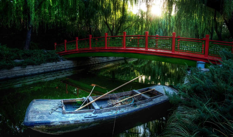 new, free, you, лодка, мост, река,