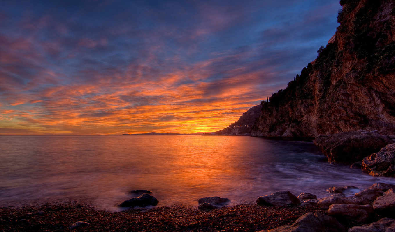 солнца, ray, different, фон, последний, моря, берег, tapety, багряного, заката,