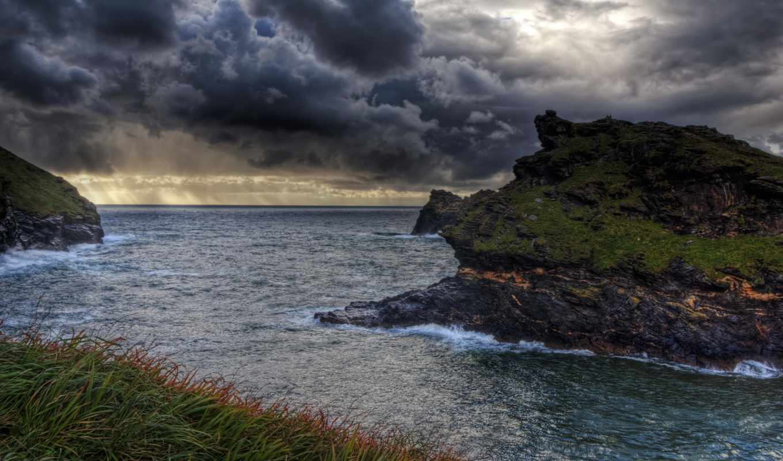 картинка, природа, water, небо, cornwall, побережье, англия,