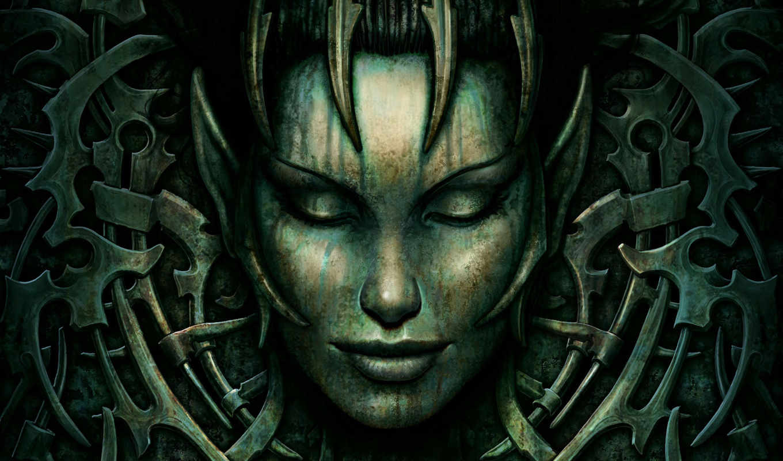 игры, spellforce, game, лицо, игр, камень, эльф, клеточка,