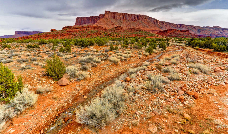 utah, mountain, usa, landscape, field, stream,