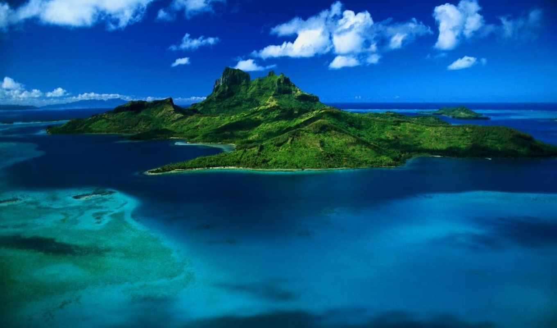 остров, bora, острова, море, соломоновы, природа, полинезия,