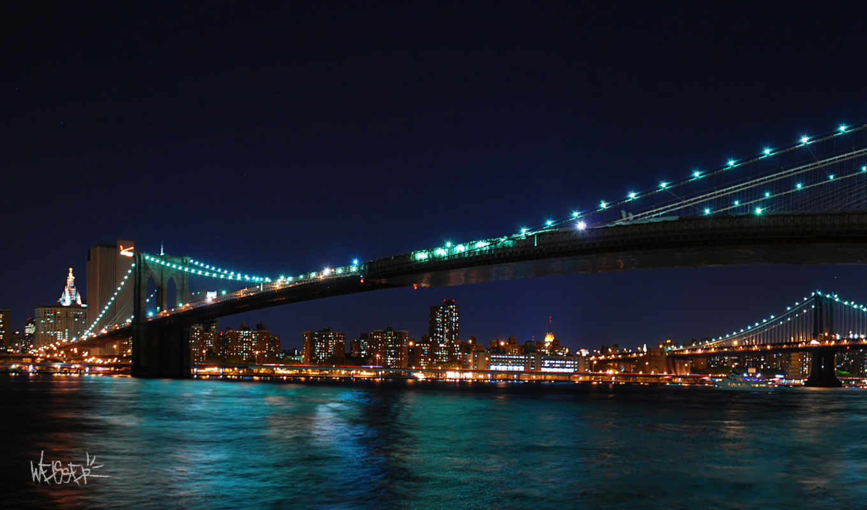 мост, луна, урожай, бруклин, new, york, gate, золотистый,