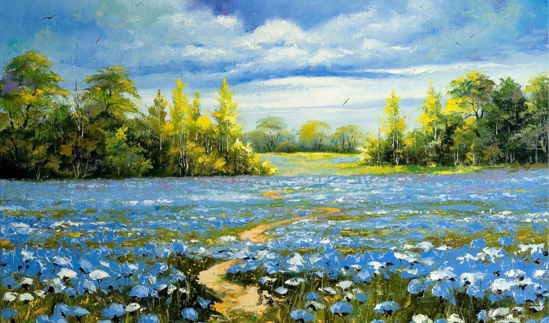 картинка, нефть, landscape, природа, canvas, живопись
