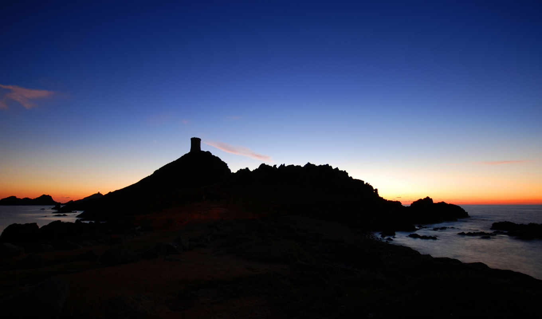 вечер, закат, небо, скалы, природа, красивая,