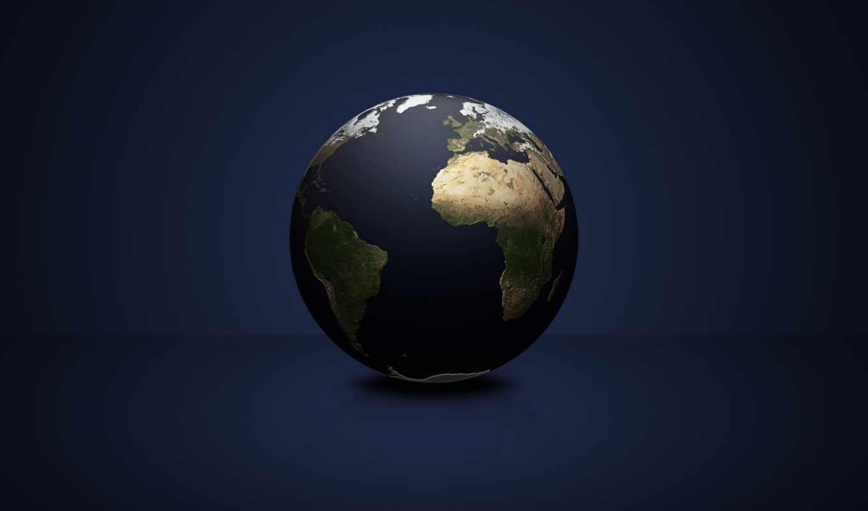 земля, планета, космос, синем, фоне, картинка, темный, шар, материки, картинку, темы,