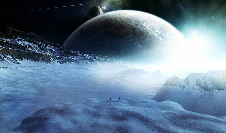 planet, space, путники, звезды, фигуры, планеты, комета, ice, снег, full, fondo, компьютера, art, picture,