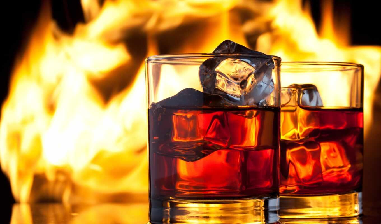 алкоголь, виски, лед, элитный, огонь,стаканы,