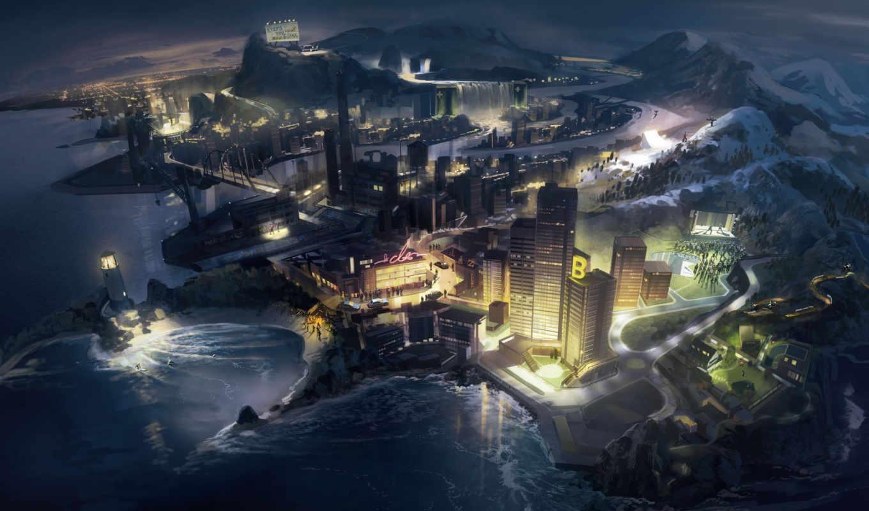 море, ночь, маяк, город, горы, art, гавань, korpi,