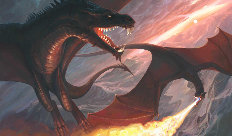 драконы, art, монстры, огонь, дракон,