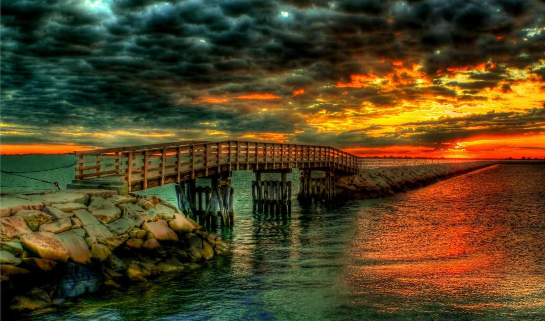 ,небо, закат, мост, море,