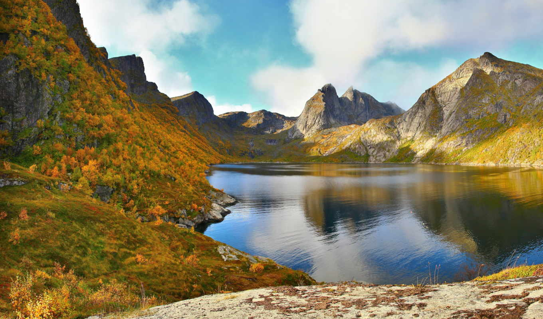 озеро, горы, природа, oblaka, water, панорама, лес, landscape, небо, multi,