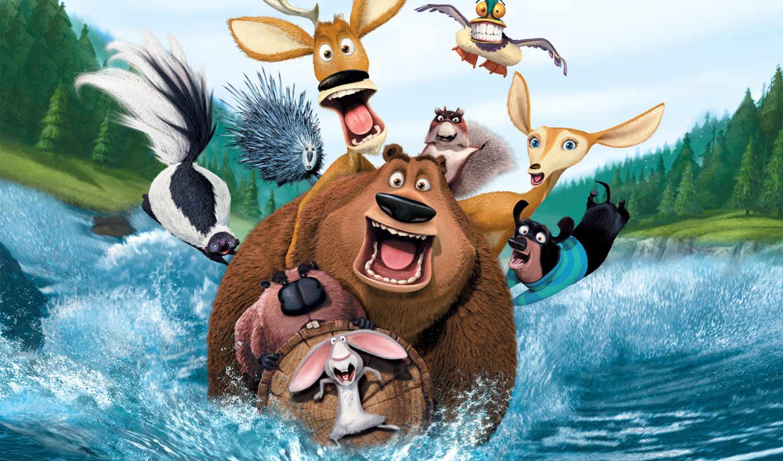 охоты, сезон, звери, мультфильм, вода,